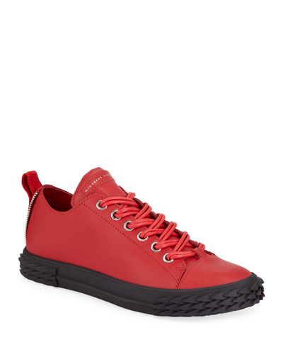 Men's Blabber Low-Top Leather Sneakers, Red