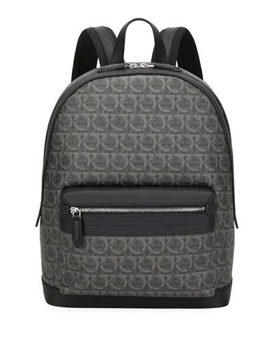 Men's Gancini Leather-Trim Backpack