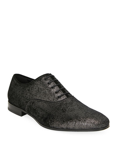 Men's Belshaw Distressed Metallic Leather Oxfords