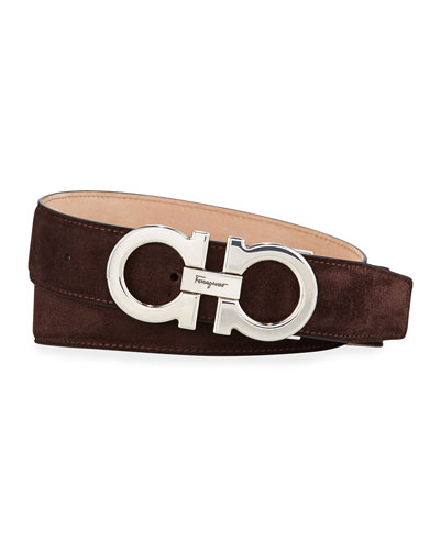 ab532a146376 Men's Calf Suede Gancini Belt Quick Look. Salvatore Ferragamo