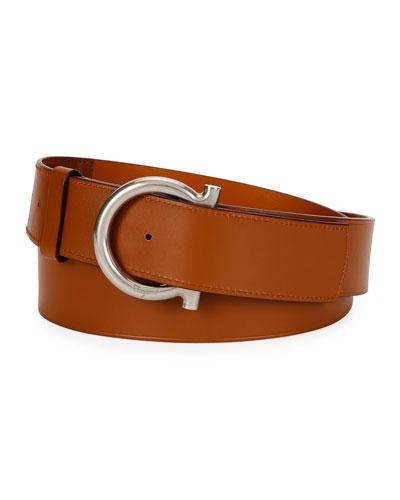 Men's Gancio Logo Leather Belt