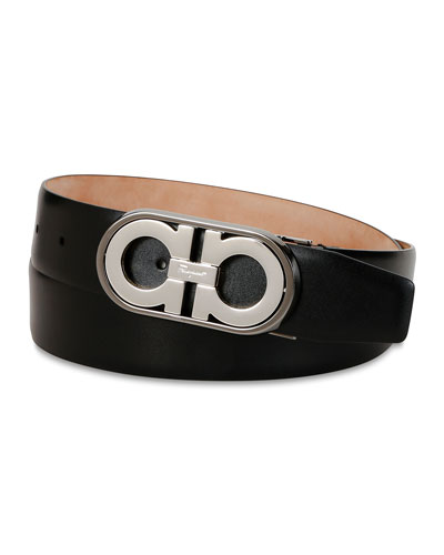 Men's Gancini Logo Leather Belt