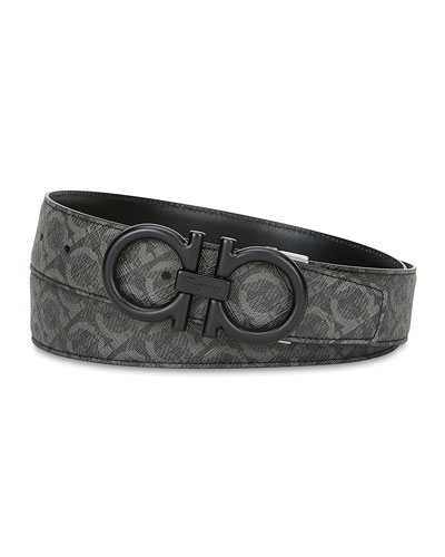 Men's Gancini Print Leather Belt