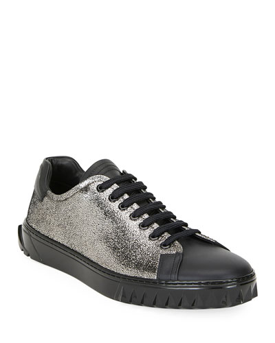 Men's Cube Two-Tone Metallic Leather Sneakers