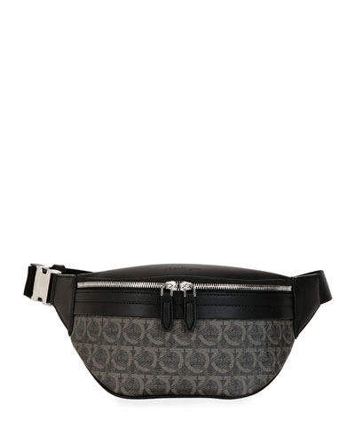 bdb0e57517 Men's Gancini-Print Leather Belt Bag/Fanny Pack