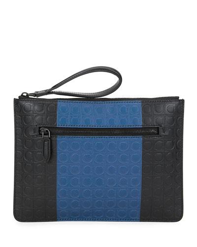 Men's Firenze Gamma Two-Tone Gancini Pouch Bag