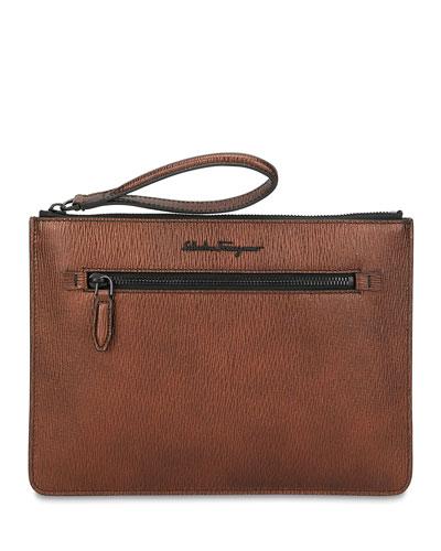 Men's Revival Textured Leather Pouch Bag