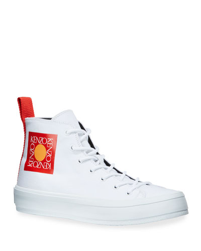 Men's Square Logo High-Top Canvas Sneakers