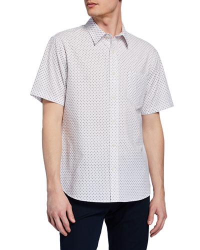 Men's Micro-Print Button-Down Short-Sleeve Shirt