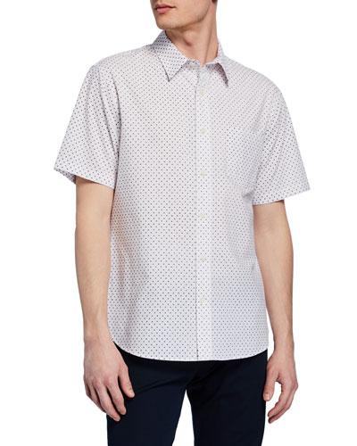 Men's Micro-Print Button-Down Short-Sleeve Shirt