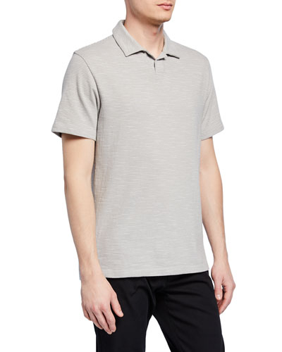 Men's Striped Short-Sleeve Cotton Polo Shirt