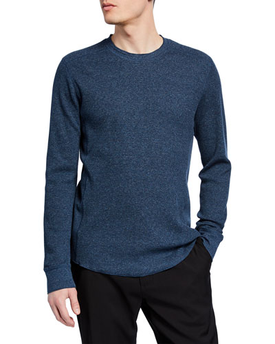 Men's Waffle Long-Sleeve Pullover T-Shirt