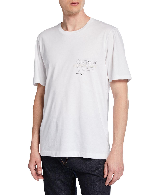 Helmut Lang T-shirts MEN'S LAWS GRAPHIC SHORT-SLEEVE JERSEY T-SHIRT