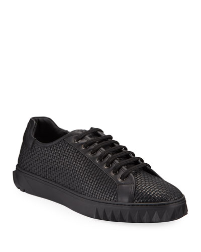 Men's Cube 17 Low-Top Woven Leather Sneakers