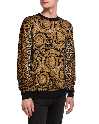 Men's Baroque Leopard Chenille Sweater