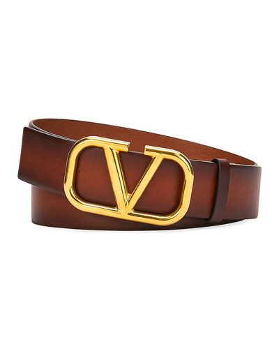 Men's Leather Belt with Logo Buckle