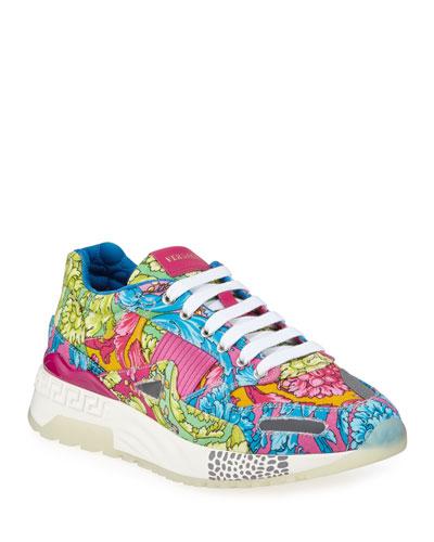 Men's Barocco-Print Canvas Runner Sneakers