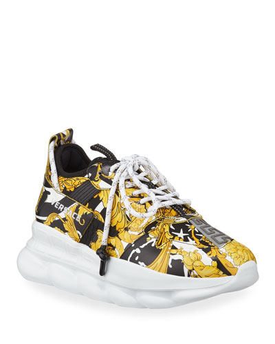Men's Runway Chain Reaction Barocco-Print Sneakers