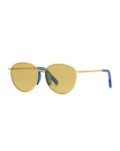 Men's Round Metal Sunglasses w/ Injected Plastic Trim