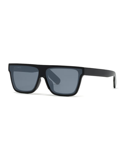 Men's Flat-Top Acetate Sunglasses, Black