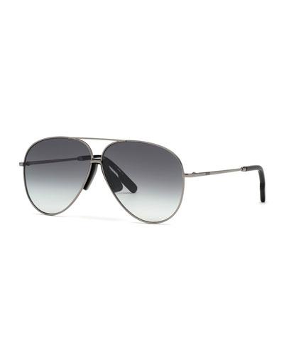 Men's Metal Aviator Sunglasses w/ Injected Plastic Trim
