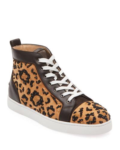 Men's Beaded Leopard High-Top Sneakers