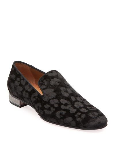 Men's Leopard-Pattern Velvet Loafers