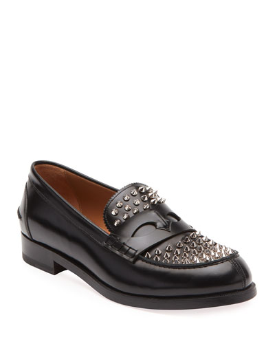 Men's Spiked Leather Penny Loafers