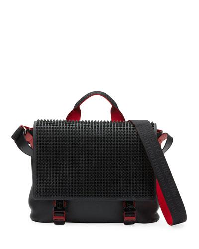 Men's Spike Leather Messenger Bag