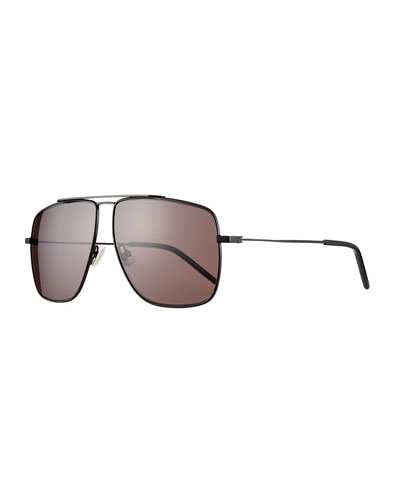 Men's Square Metal Brow-Bar Sunglasses