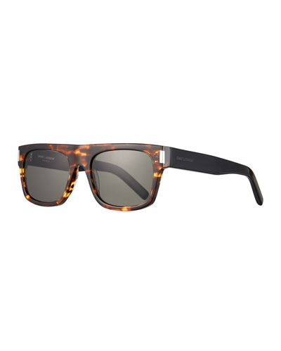 Men's SL 293 Brown-Pattern Rectangle Sunglasses
