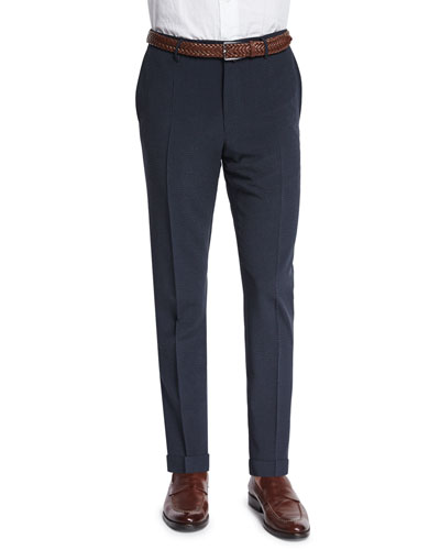 Standard-Fit Striped Seersucker Trousers, Navy