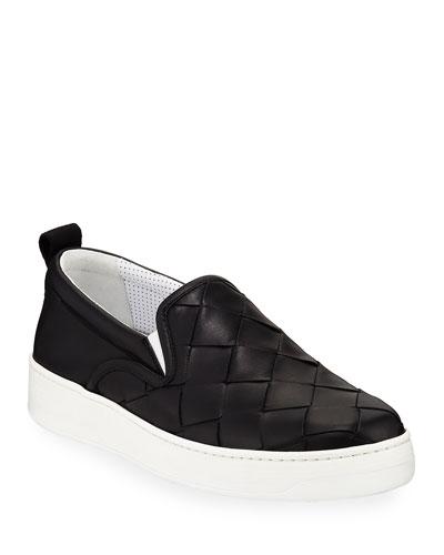 Men's Intrecciato Leather Slip-On Sneakers