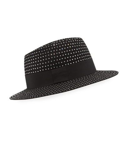 Men's Crystal-Embellished Rabbit Felt Fedora Hat