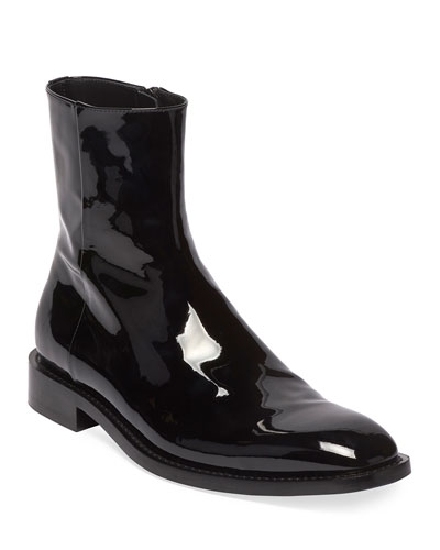 Men's Rim Patent Leather Chelsea Boots