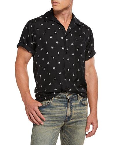 Men's Stars-Print Short-Sleeve Sport Shirt