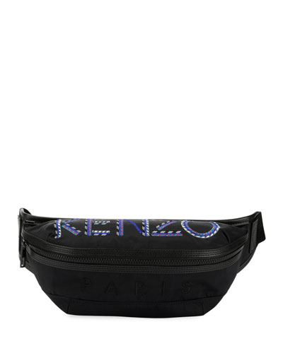 Men's Solid Nylon Belt Bag with Logo Embroidery