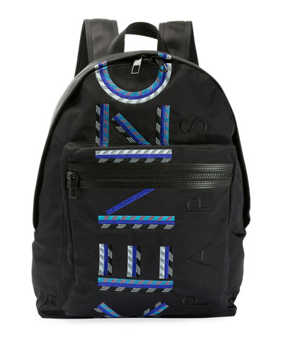 Men's Solid Nylon Backpack with Logo Embroidery