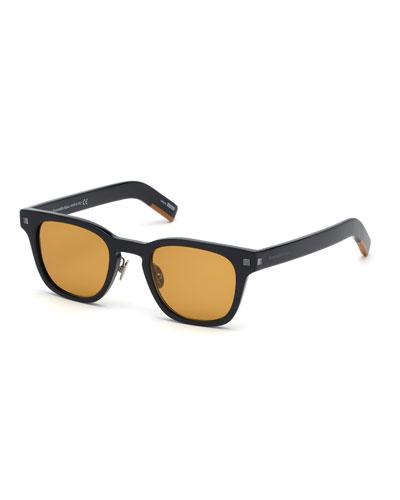 Men's Shiny Square Acetate Sunglasses