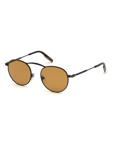 Men's Round Two-Tone Metal Sunglasses