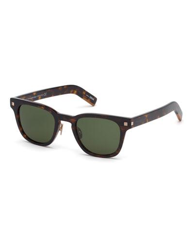 Men's Striped Havana Square Sunglasses
