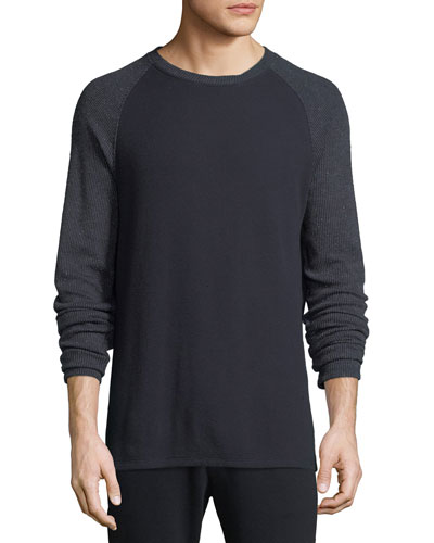 Men's Long-Sleeve Crewneck Cotton-Blend T-Shirt