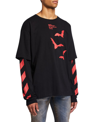 Men's Double-Sleeve Stripe & Bat Logo Shirt