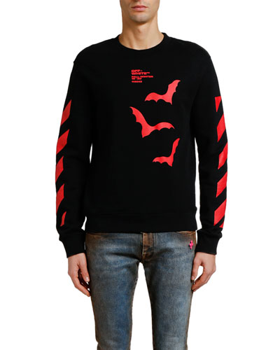 Men's Diagonal Bats Graphic Slim Long-Sleeve T-Shirt