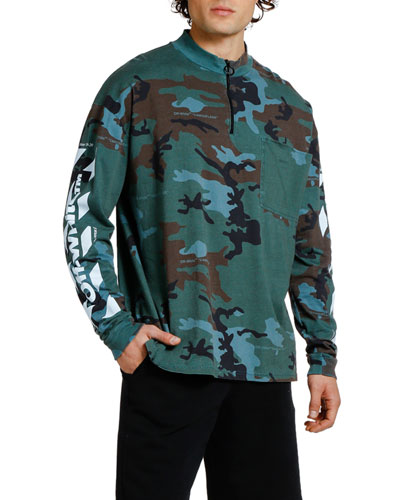 Men's Camo Diagonal-Arrows Mock-Neck Sweatshirt