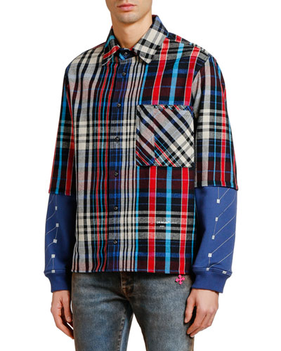 Men's Jersey-Sleeve Plaid Sport Shirt