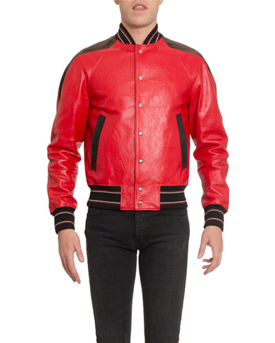 Men's V-Cut Leather Blouson Jacket