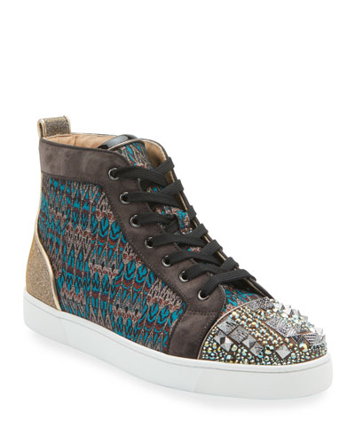 Men's Louis Mixed-Media Spiked High-Top Sneakers