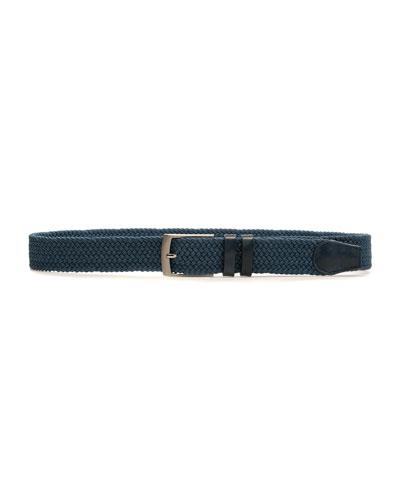 Men's Nadal Woven Belt w/ Leather Trim, Blue