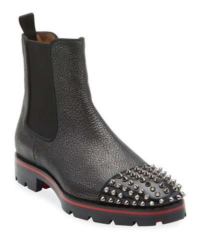 Men's Melon Spikes Pebbled Leather Chelsea Boots